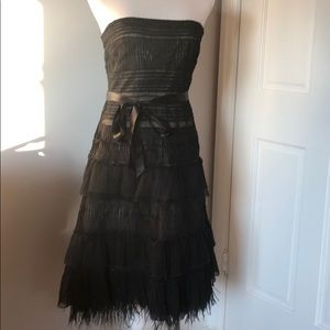BCBG black strapless cocktail dress lace feathers